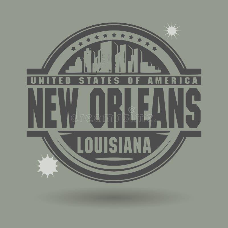 Zegel of etiket met binnen tekst New Orleans, Louisiane royalty-vrije illustratie