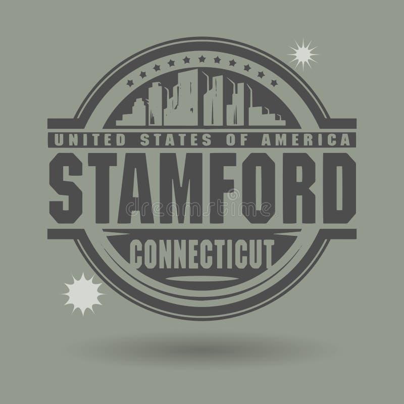 Zegel of etiket met binnen tekst Stamford, Connecticut stock illustratie