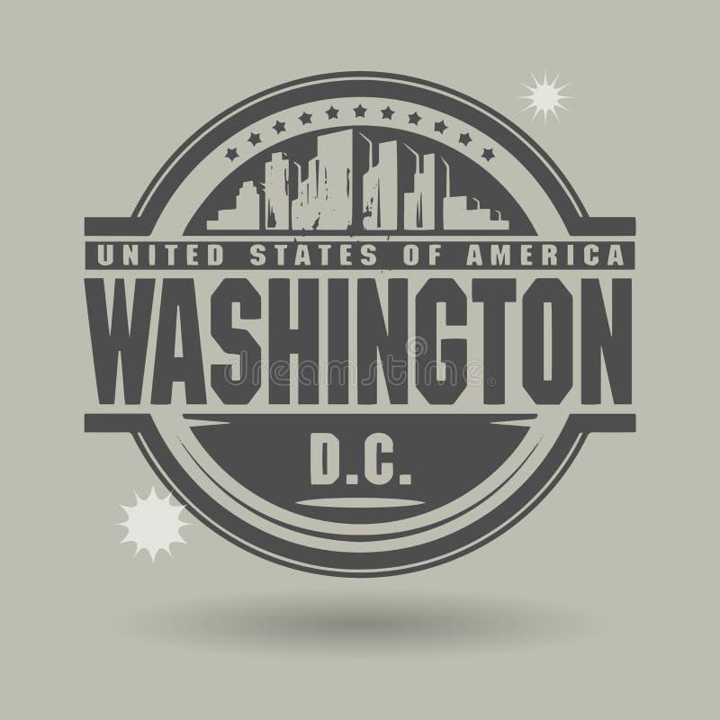 Zegel of etiket met binnen tekst Washington, District van Colombia stock illustratie