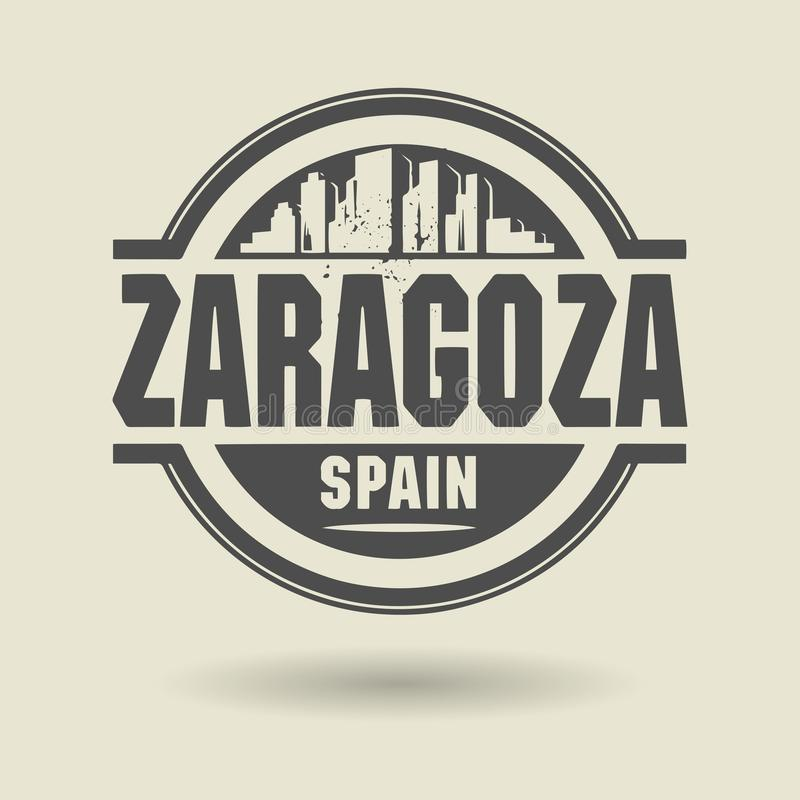 Zegel of etiket met binnen tekst Zaragoza, Spanje royalty-vrije illustratie