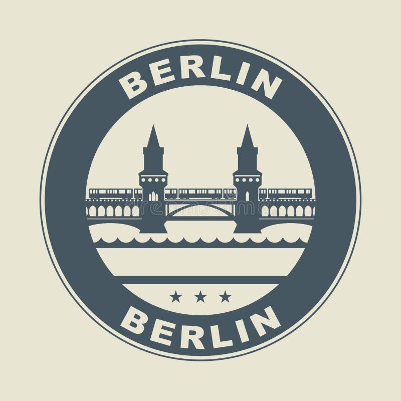 Zegel of etiket met binnen woord Berlijn vector illustratie