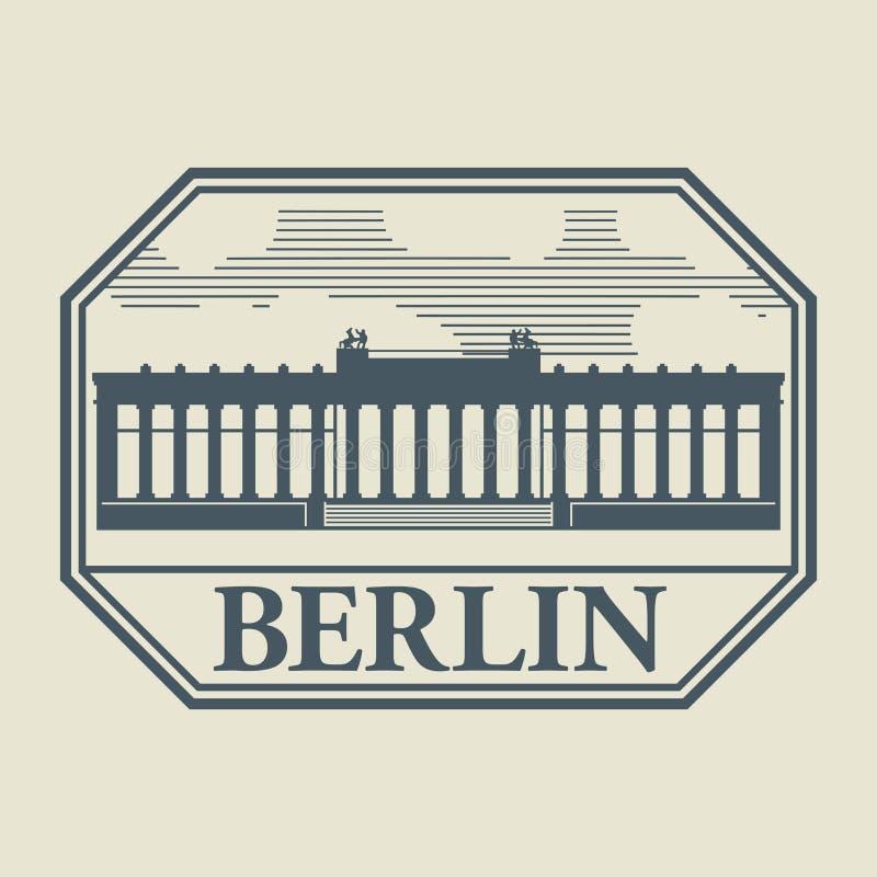 Zegel of etiket met binnen woord Berlijn royalty-vrije illustratie