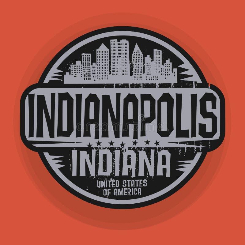 Zegel of etiket met naam van Indianapolis, Indiana royalty-vrije illustratie
