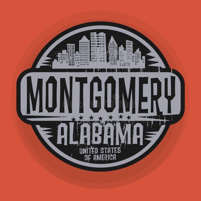 Zegel of etiket met naam van Montgomery, Alabama royalty-vrije illustratie