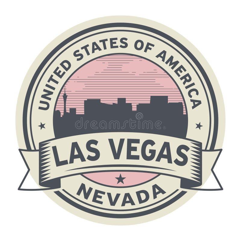 Zegel of etiket met naam van Nevada, Las Vegas stock illustratie