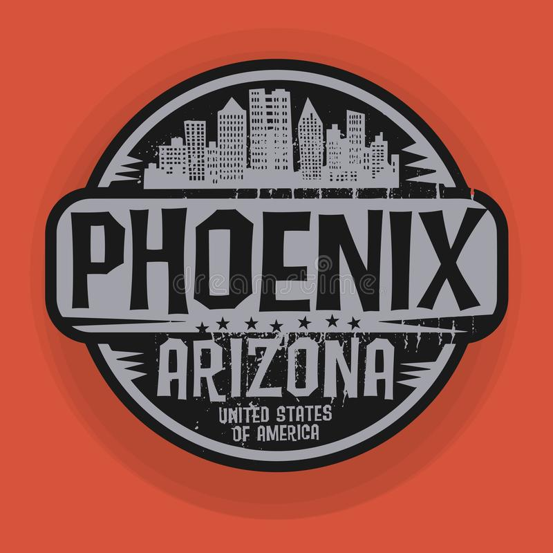Zegel of etiket met naam van Phoenix, Arizona stock illustratie