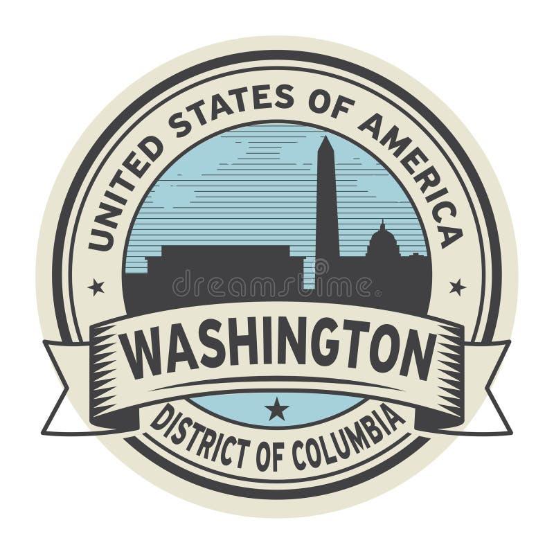 Zegel of etiket met naam van Washington, District van Colombia royalty-vrije illustratie