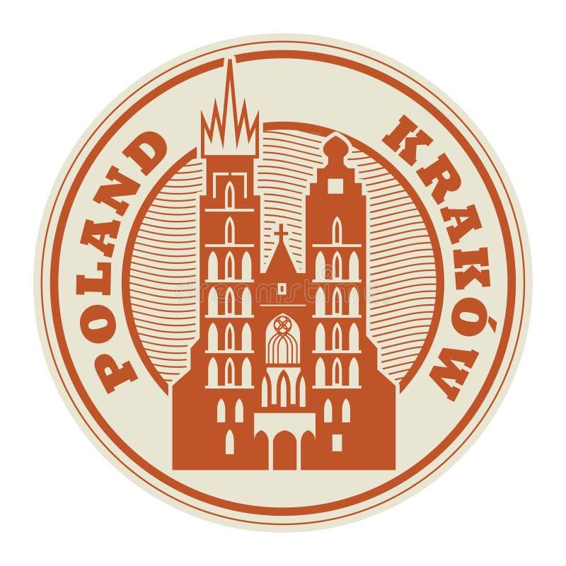 Zegel of etiket met woorden Krakau, Polen royalty-vrije illustratie