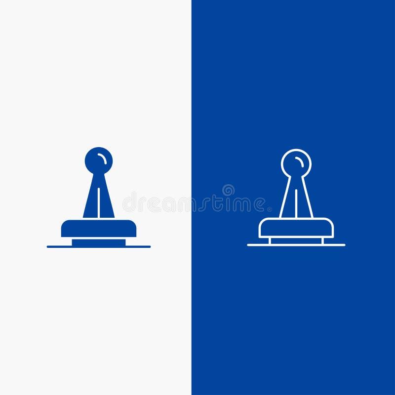 Zegel, Goedkeuring, Instantie, Wettelijk, Teken, Rubber, Verbindingslijn en Lijn van de het pictogram Blauwe banner van Glyph de  stock illustratie