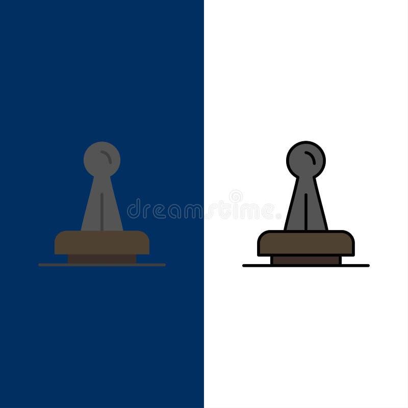 Zegel, Goedkeuring, Wettelijke Instantie, Teken, Rubber, Verbindingspictogrammen Vlak en Lijn vulde Pictogram Vastgestelde Vector stock illustratie