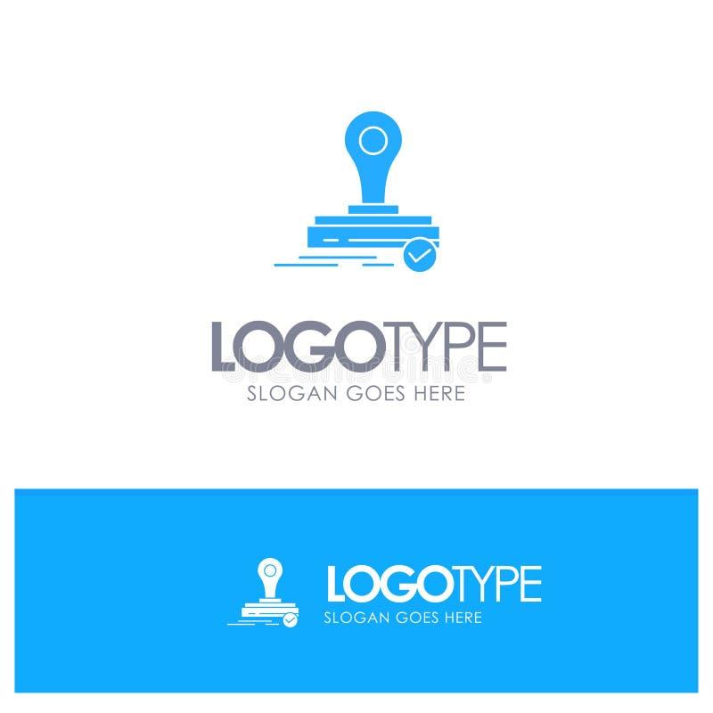 Zegel, Kloon, Pers, Logo Blue Solid Logo met plaats voor tagline vector illustratie