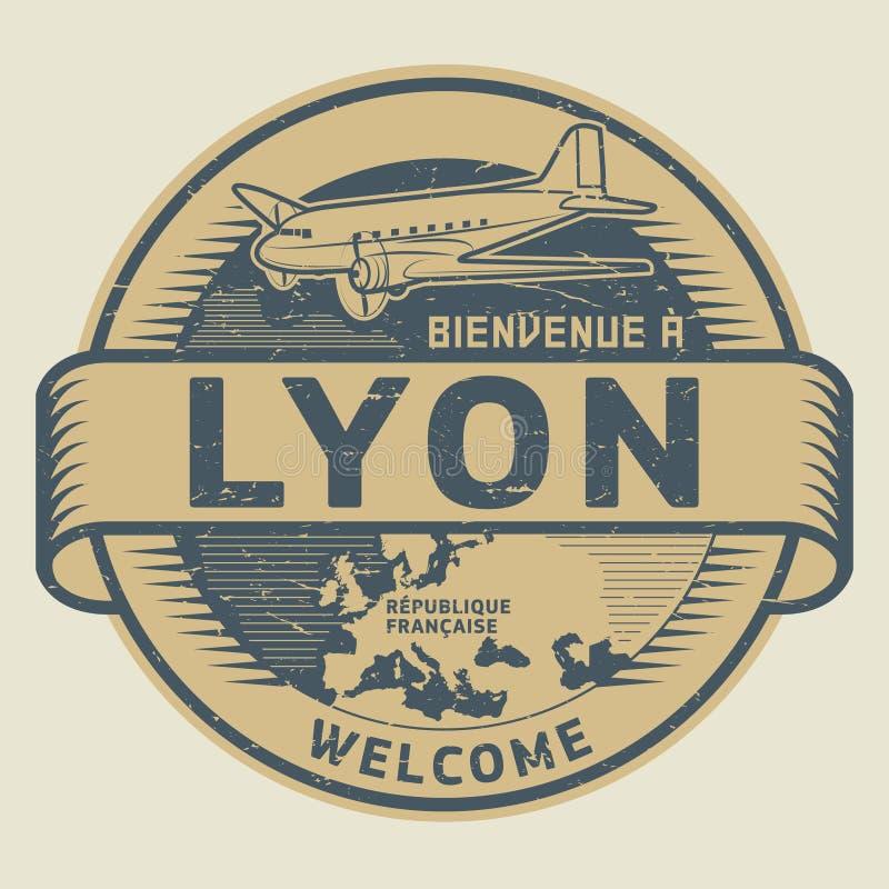 Zegel of markering met vliegtuig en tekstonthaal aan Lyon, Frankrijk stock illustratie