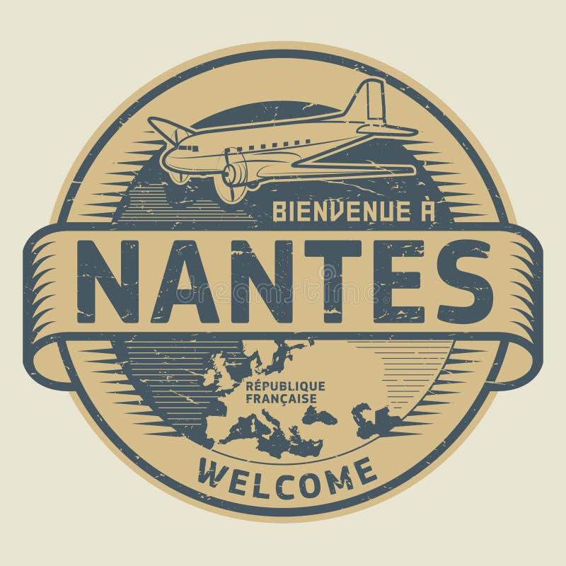 Zegel of markering met vliegtuig en tekstonthaal aan Nantes, Frankrijk royalty-vrije illustratie