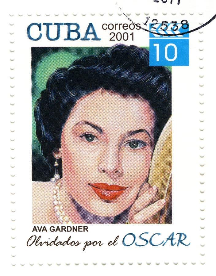 Zegel met Ava Gardner stock afbeelding