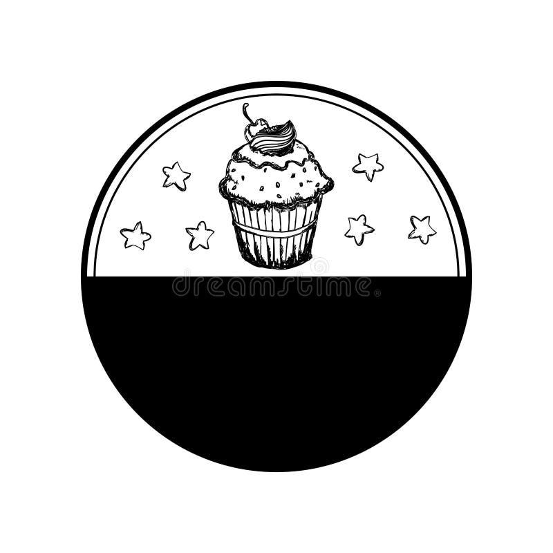 Zegel met cupcake zoete tekening stock foto's