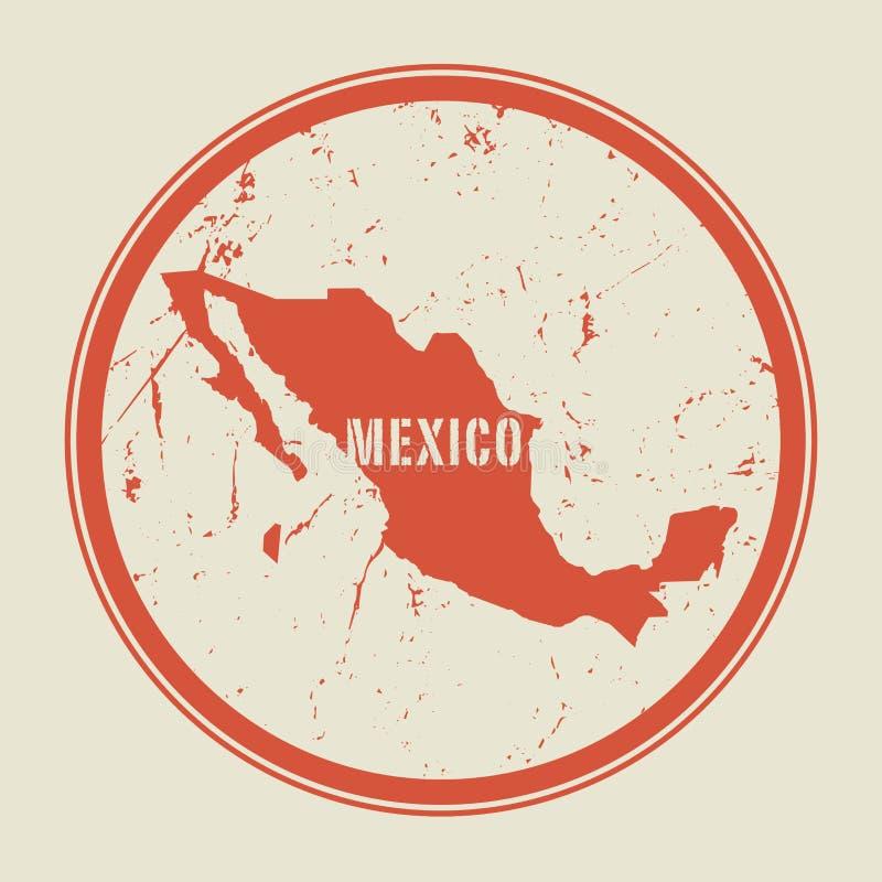 Zegel met de naam en de kaart van Mexico royalty-vrije illustratie