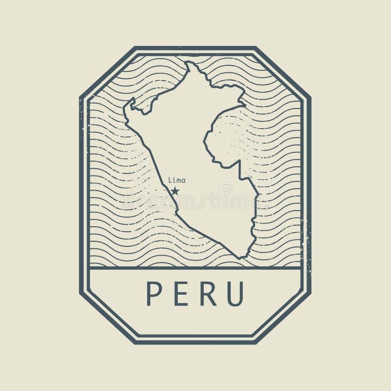 Zegel met de naam en de kaart van Peru stock illustratie
