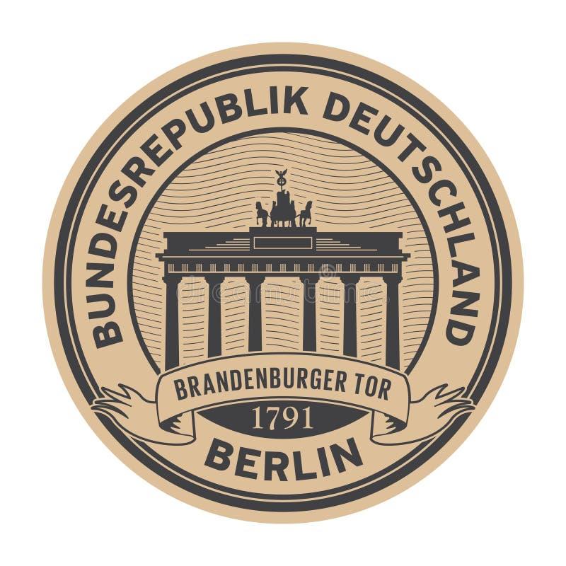 Zegel met de poort van Brandenburg, Berlijn royalty-vrije illustratie