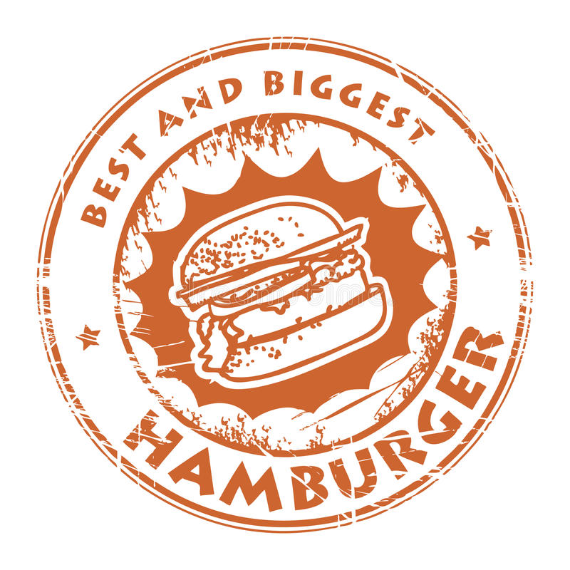 Zegel met hamburger royalty-vrije illustratie