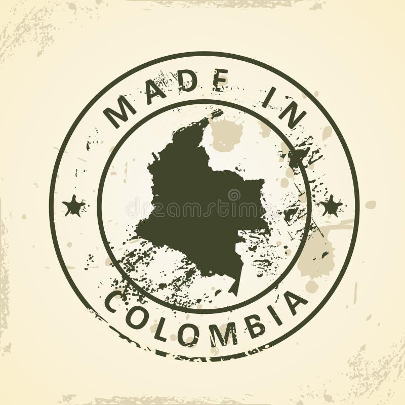 Zegel met kaart van Colombia stock illustratie