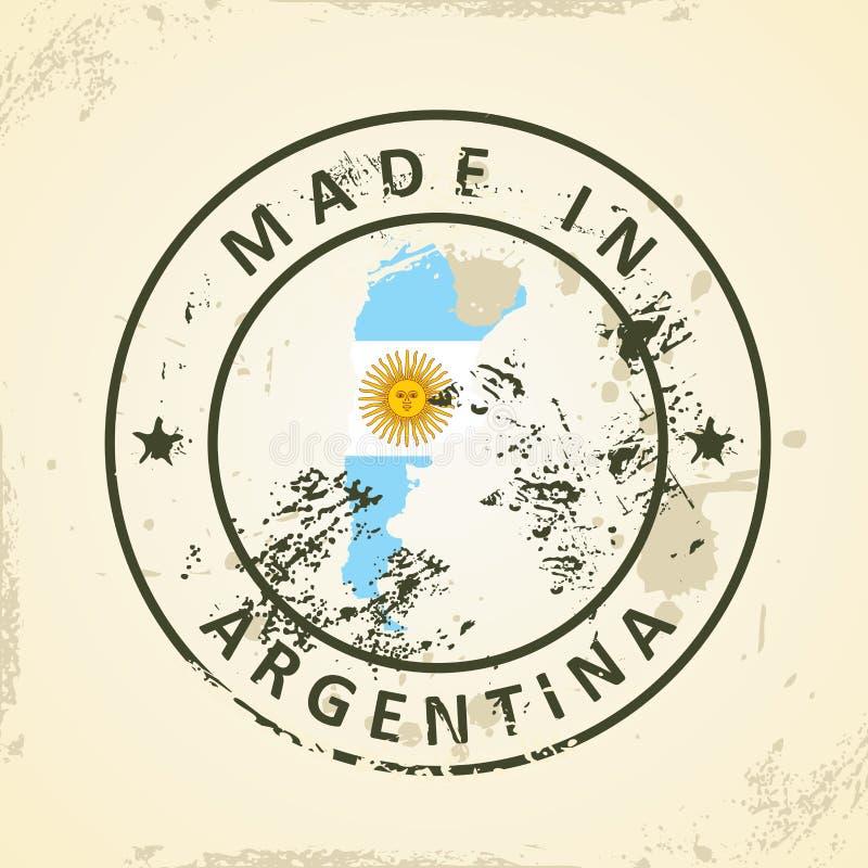 Zegel met kaartvlag van Argentinië royalty-vrije illustratie