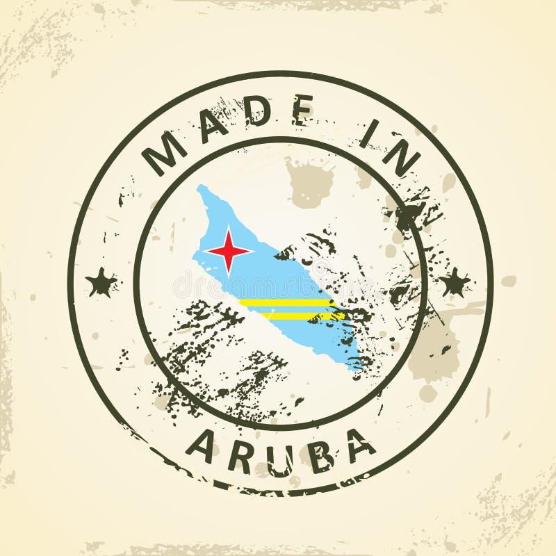 Zegel met kaartvlag van Aruba stock illustratie