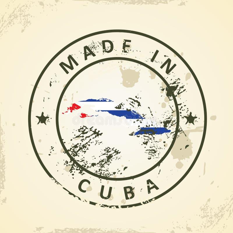 Zegel met kaartvlag van Cuba vector illustratie