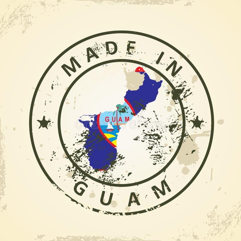 Zegel met kaartvlag van Guam royalty-vrije illustratie