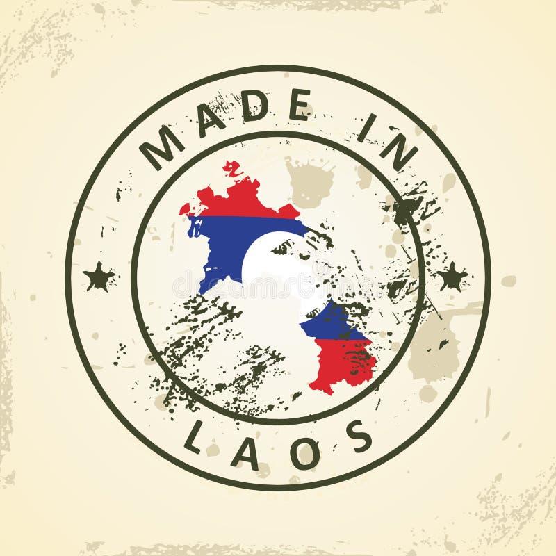 Zegel met kaartvlag van Laos royalty-vrije illustratie