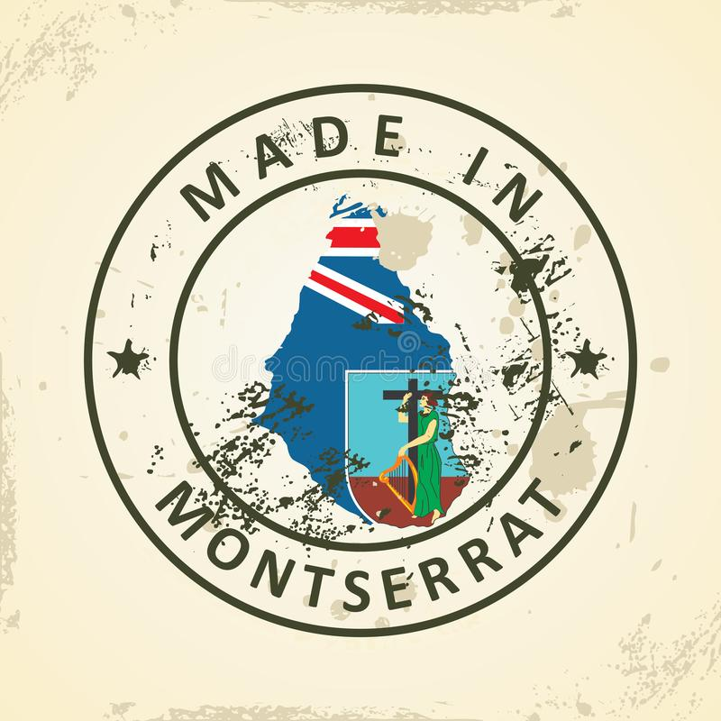 Zegel met kaartvlag van Montserrat stock illustratie