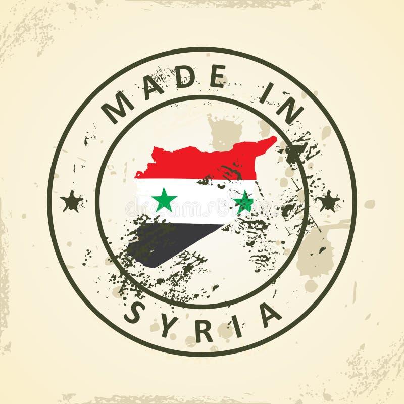 Zegel met kaartvlag van Syrië royalty-vrije illustratie