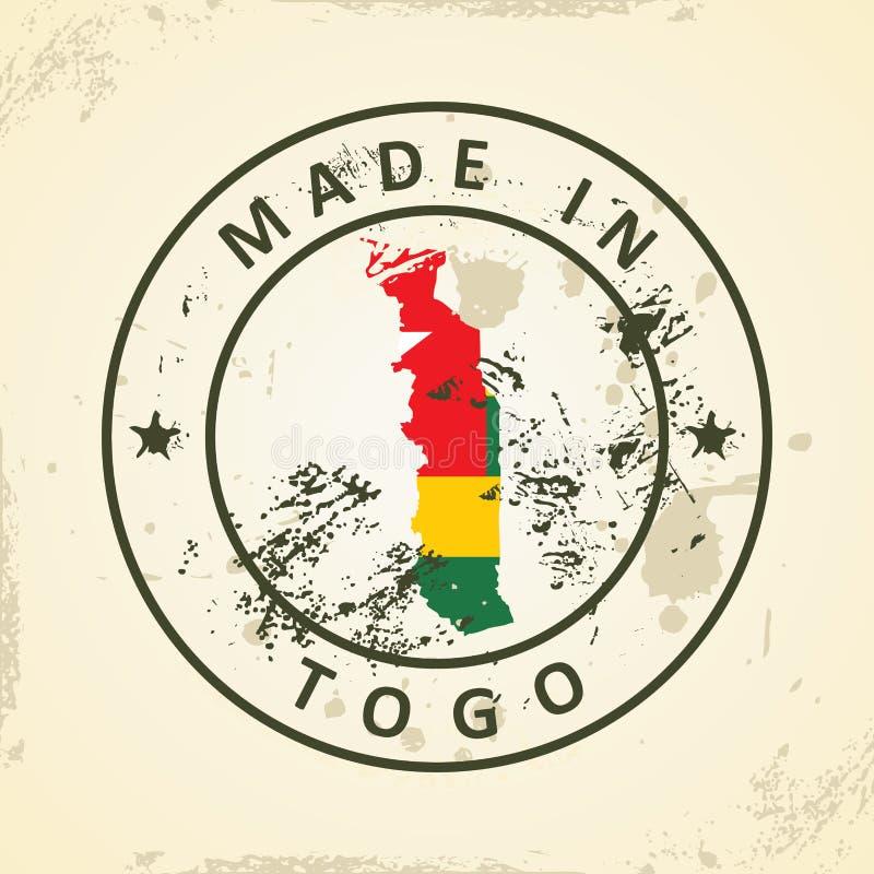 Zegel met kaartvlag van Togo royalty-vrije illustratie