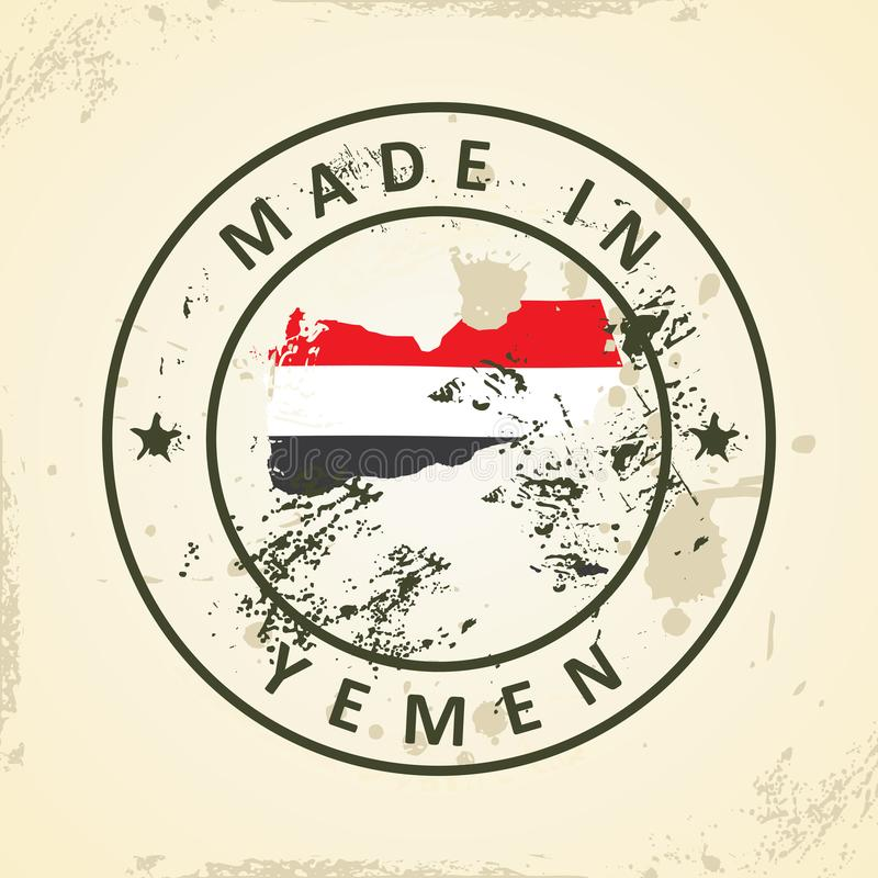 Zegel met kaartvlag van Yemen royalty-vrije illustratie