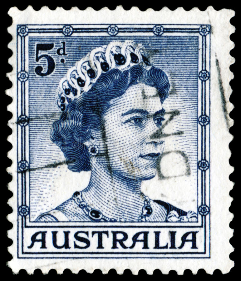 Zegel met Koningin Elizabeth II royalty-vrije stock afbeelding