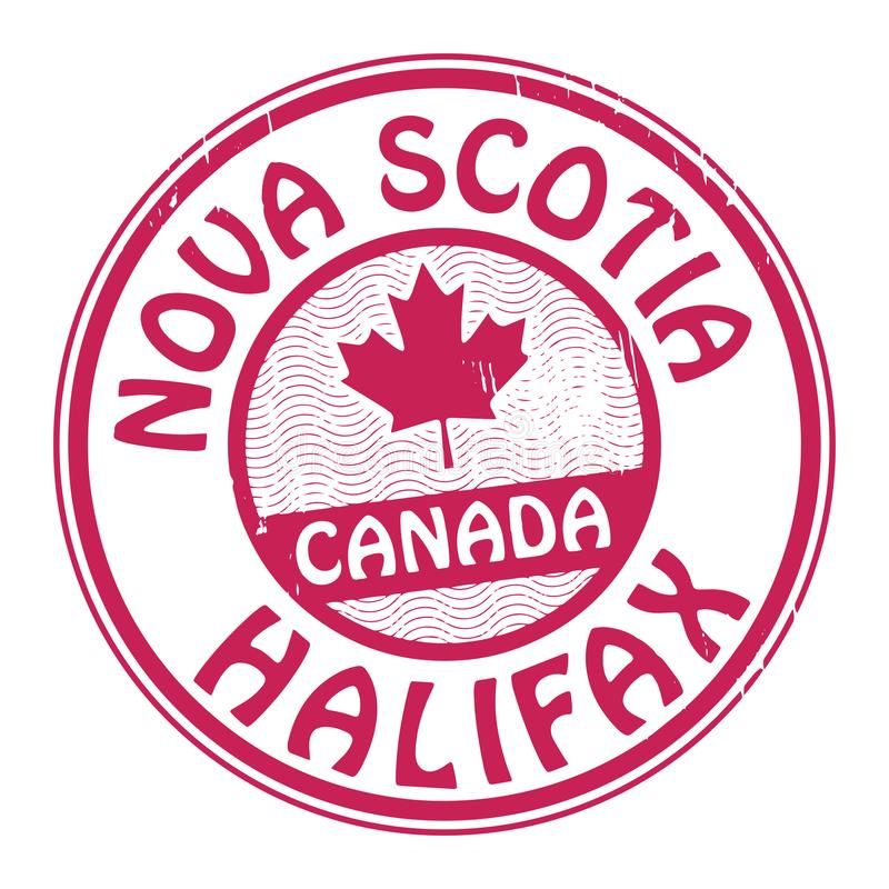 Zegel met naam van Canada, Nova Scotia en Halifax stock illustratie