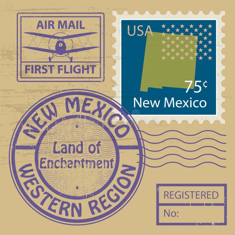 Zegel met naam van New Mexico wordt geplaatst dat royalty-vrije illustratie