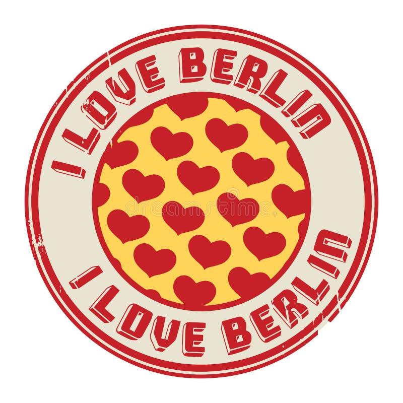 Zegel met tekst I liefde Berlijn stock illustratie