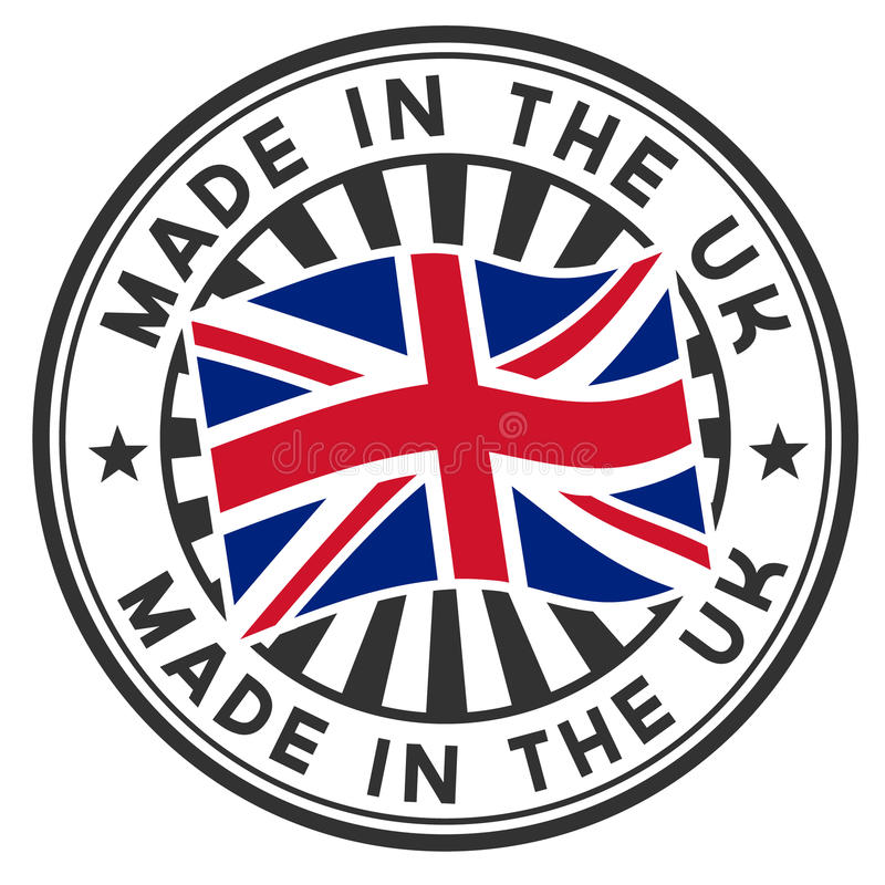 Zegel met vlag van het UK. Gemaakt in het UK. vector illustratie