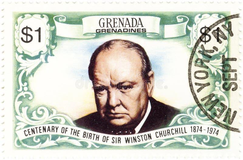 Zegel met Winston Churchill stock afbeelding