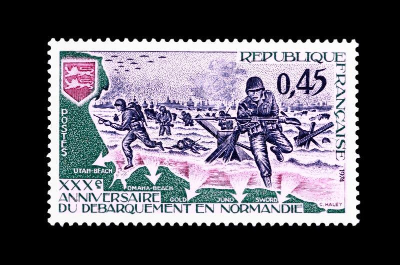 Zegel van de dertigste verjaardag van de landing van Normandië royalty-vrije stock afbeeldingen