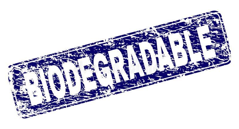 Zegel van de Grunge de BIOLOGISCH AFBREEKBARE Ontworpen Rond gemaakte Rechthoek stock illustratie