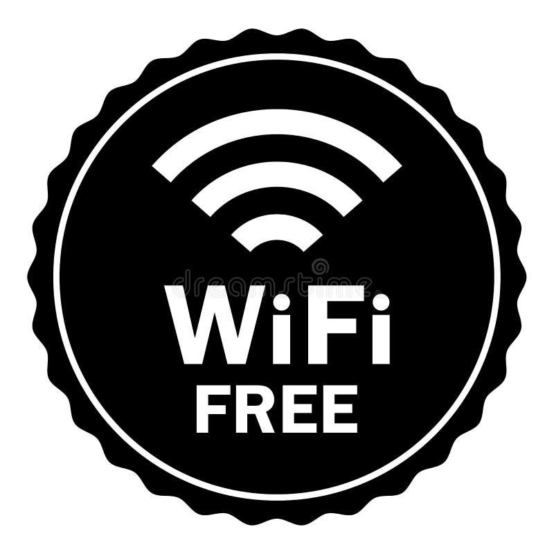 Zegel van het het signaal vlakke pictogram van Wifi de vrije draadloze Internet royalty-vrije illustratie