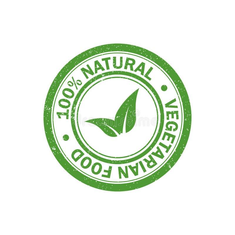 100% zegel van natuurvoeding de rubbergrunge Vegetarisch voedselpictogram Vector vector illustratie