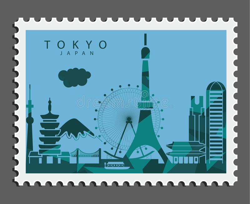 Zegel van Tokyo Japan royalty-vrije stock afbeelding