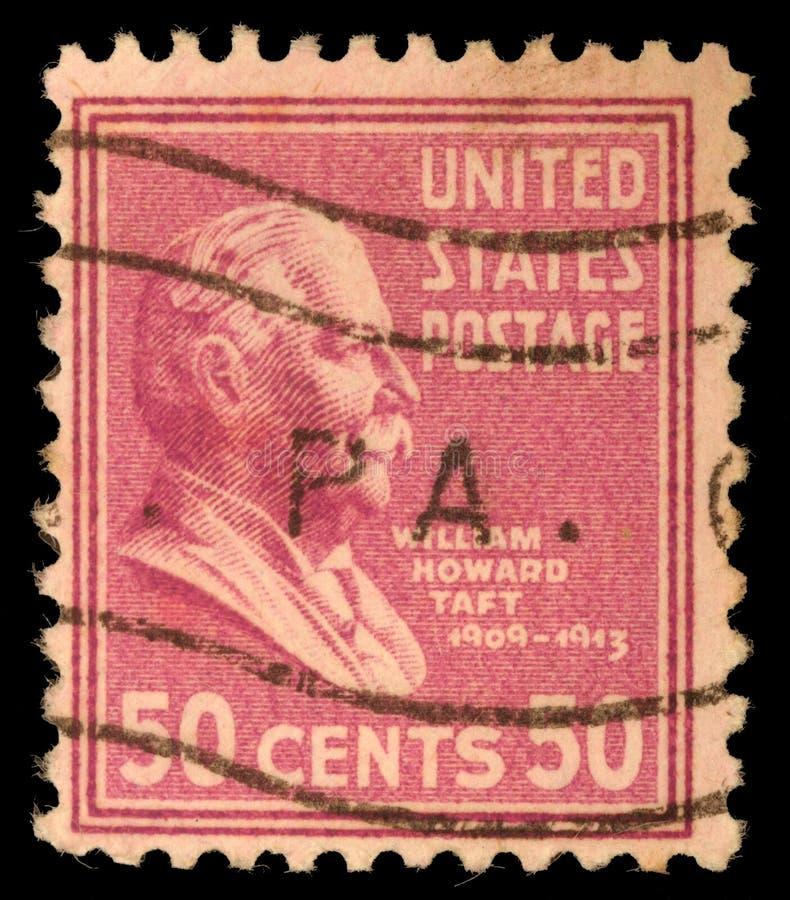 Zegel in Verenigde Staten wordt gedrukt die Vertoningen William Howard Taft stock foto's