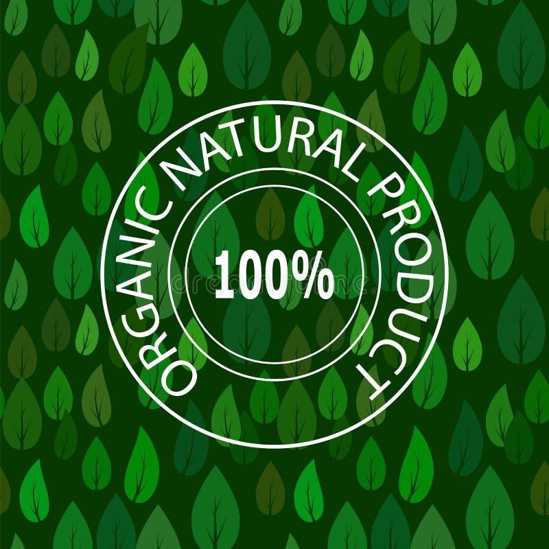 Zegel voor Natuurlijk Product op Groen Verlof Naadloos Patroon royalty-vrije illustratie
