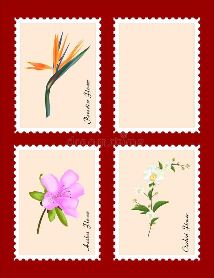 Zegels met bloemen vector illustratie