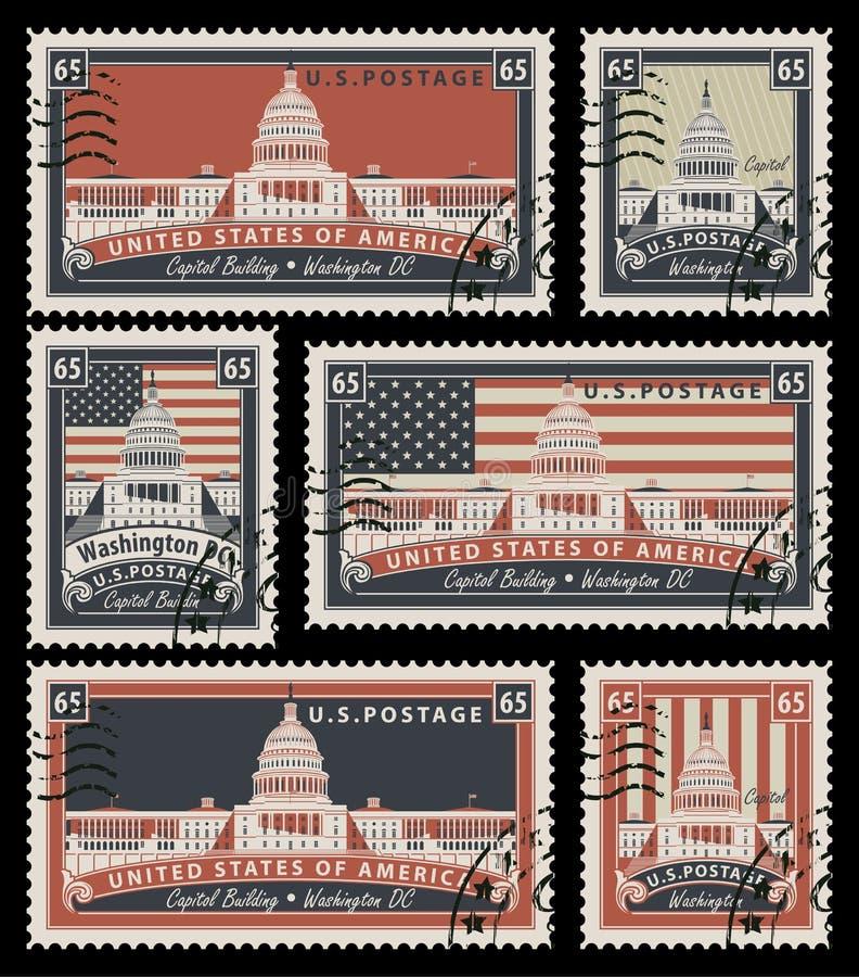 Zegels met het beeld van het Capitool van de V.S. stock illustratie