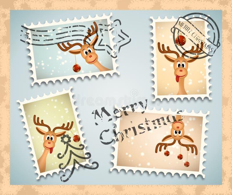 Zegels met Kerstmisthema - grappig rendier vector illustratie
