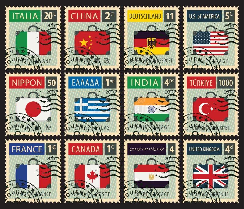 Zegels met vlaggen van verschillende landen royalty-vrije illustratie